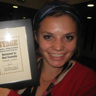 Edie with our Nomination for The Stage Award for Acting Excellence