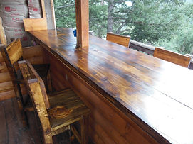 Exceptionnel Made Of All Stained Beetle Kill Wood. Yes This Bar Was Built In An Old  Abandoned Tree House. The Customer Turned The Tree House Into An Outdoor Bar .