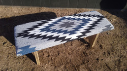 Aztec Grey & Blue Covered Bench