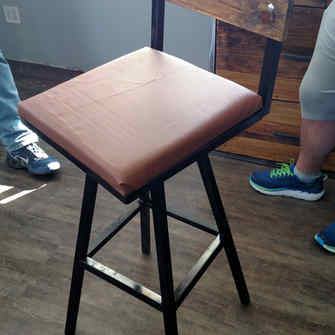 Metal Leather Covered Chair
