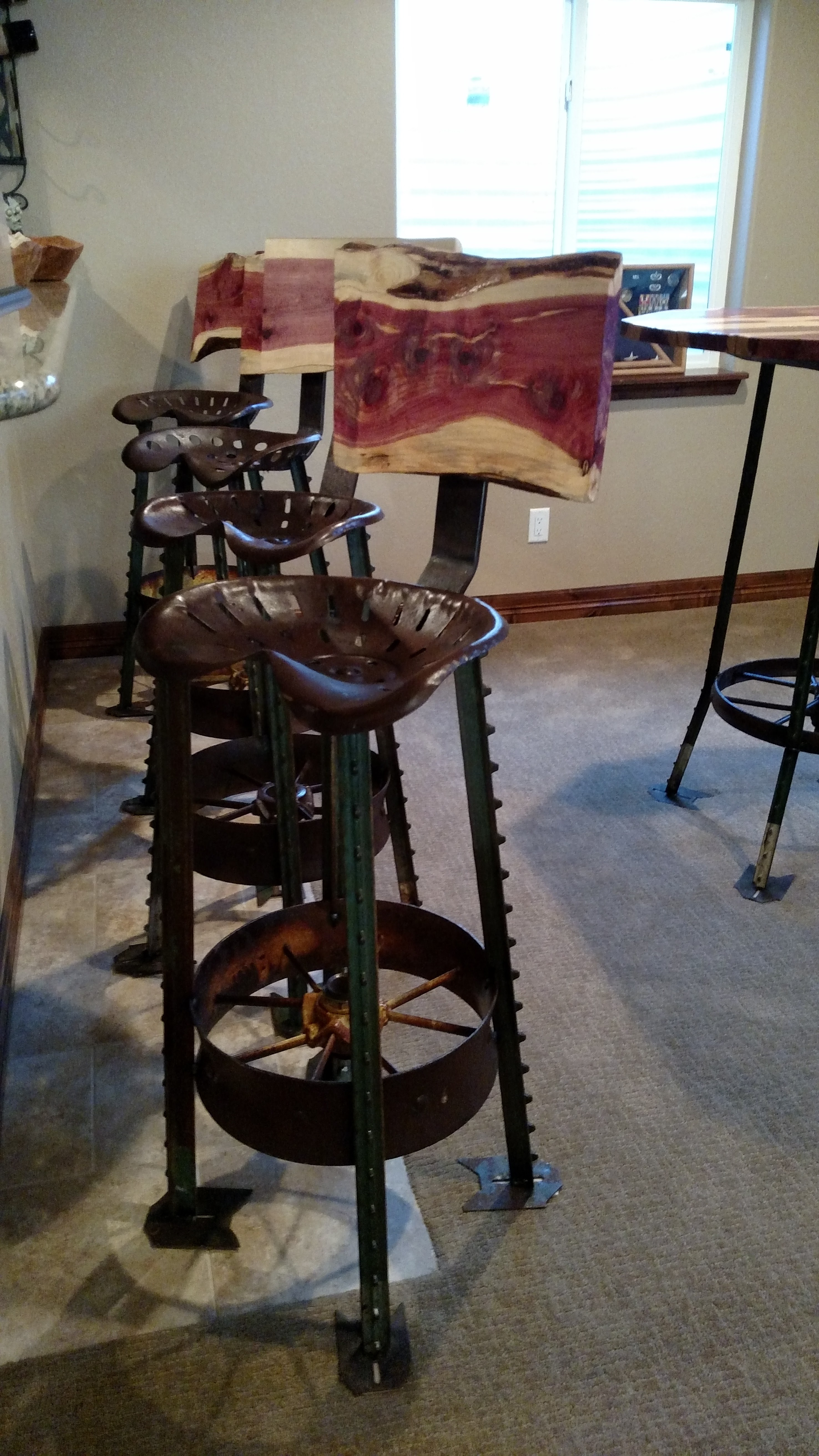 Tractor Seat Stools with Cedar Back