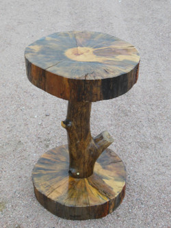 Single Pine Log Leg End Table
