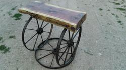 Cedar Wheel End Table