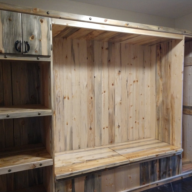 Pine Custom Built In Mudroom Cabinets