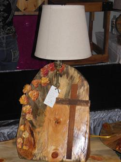 Pine Wood Lamp with Cross