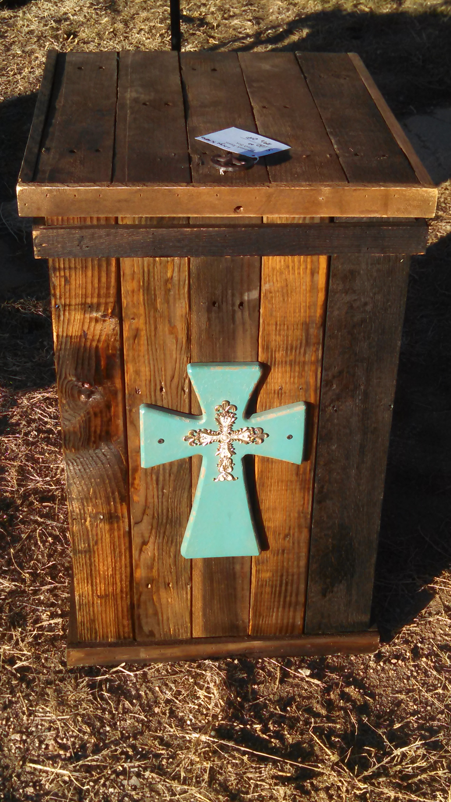 Large Turquoise Cross Kitchen Can