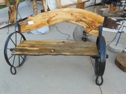 Pine Bench with Black Wheels 13