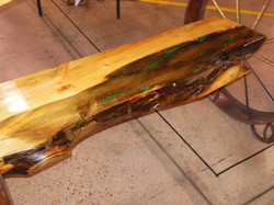Pine Bench with Turquoise Inlay 16
