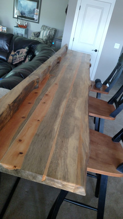Custom Pine Sofa Table & Metal Base