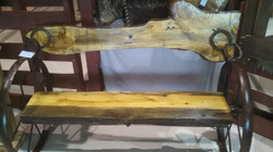 Pine Bench with Blue Inlay 10