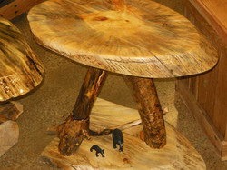 Pine End Table with Rustic Bears