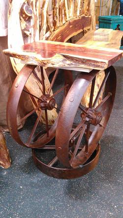 Cedar Wagon Wheel End Table