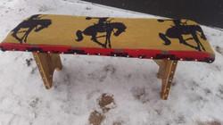Tan & Red Bucking Horse Bench