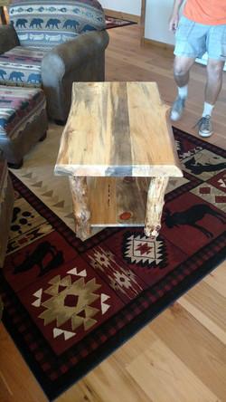 Pine Log End Table