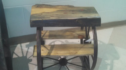 Pine Wheel End Table With Inlay