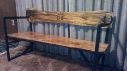 Pine Branded Bench With Steel Posts