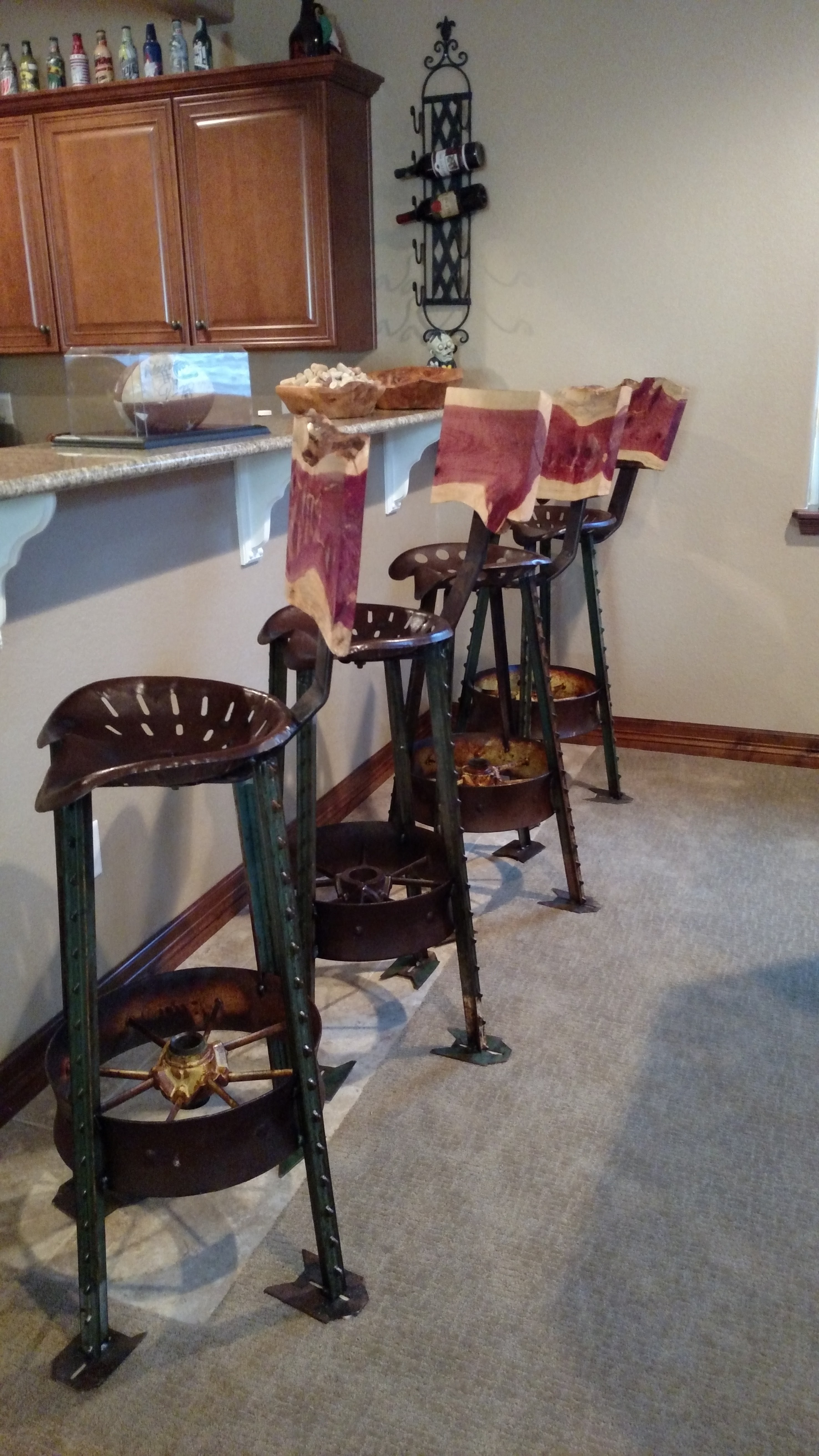 Tractor Seat Stools with Cedar