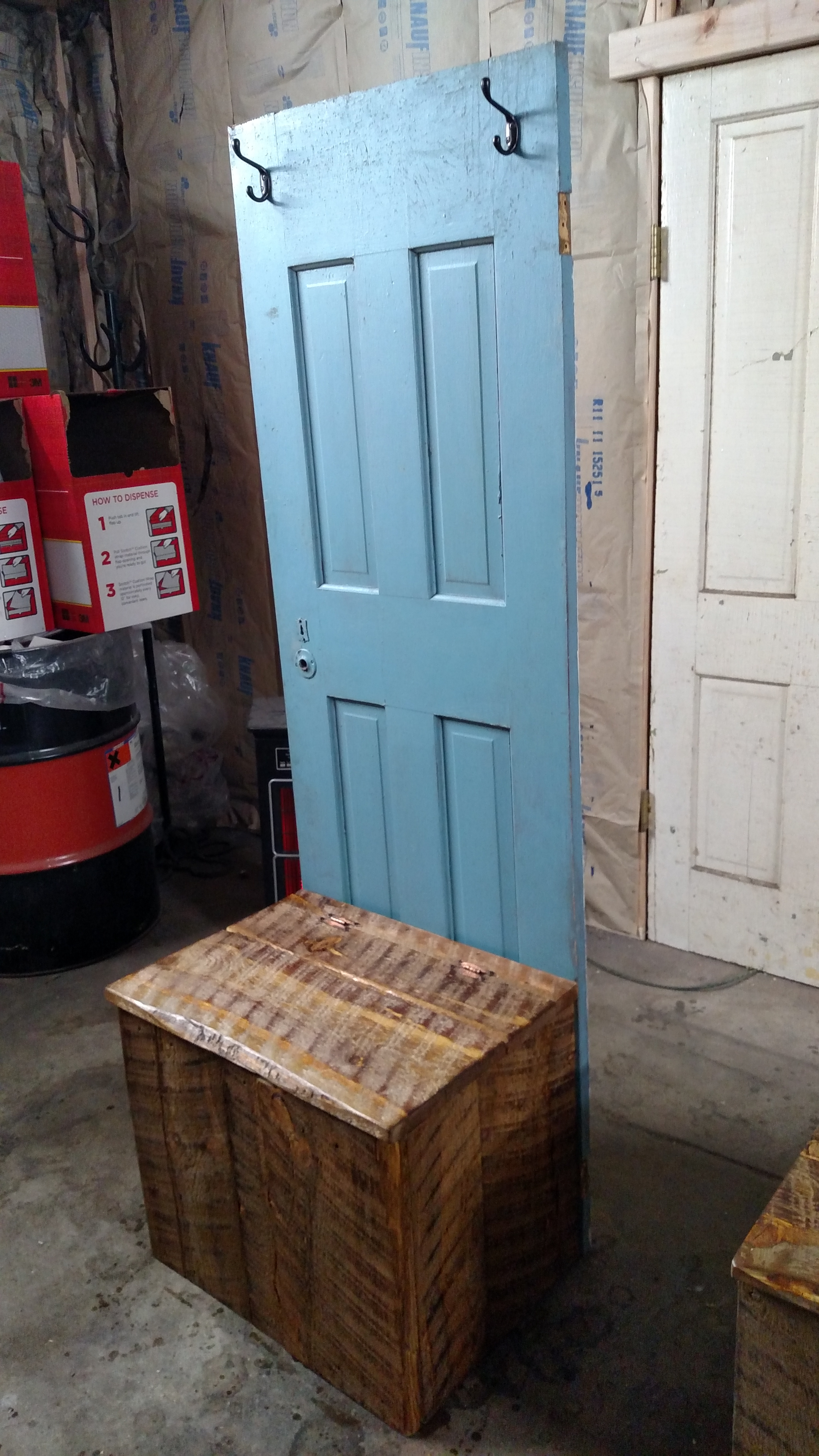 Old Door With Pine Seat