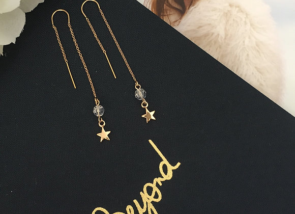 Moon and Star Chain Drop Earring