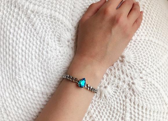 Rock Star Swarovski Blue AB Crystal and Silver Chain