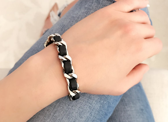 Coco Black Leather and Silver Bracelet