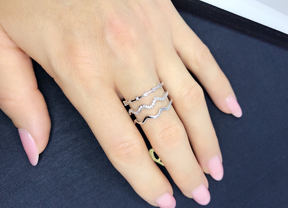 Sparkle Layers Ring In Platinum Tone