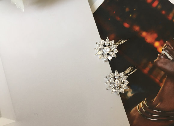 White Gold Plated Snow Flake Earring