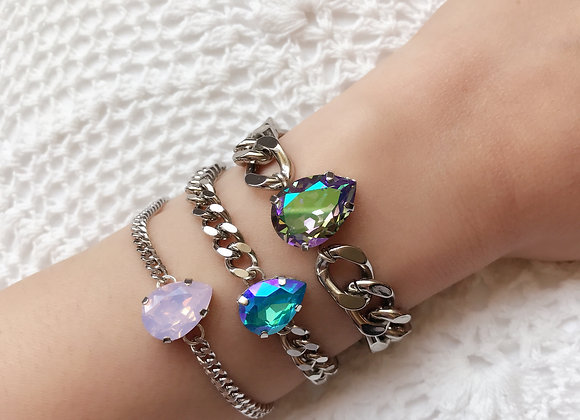 Mega Rock Star Swarovski Paradise Crystal and Silver Chain