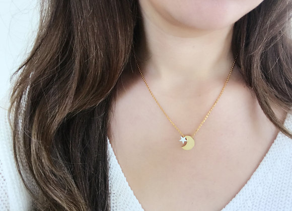 Gold Moon and Silver Star Necklace