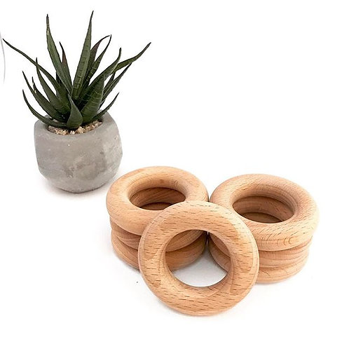 65mm beech teething rings - set 20