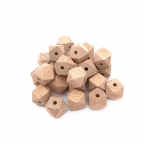 20mm hexagon beech wood beads