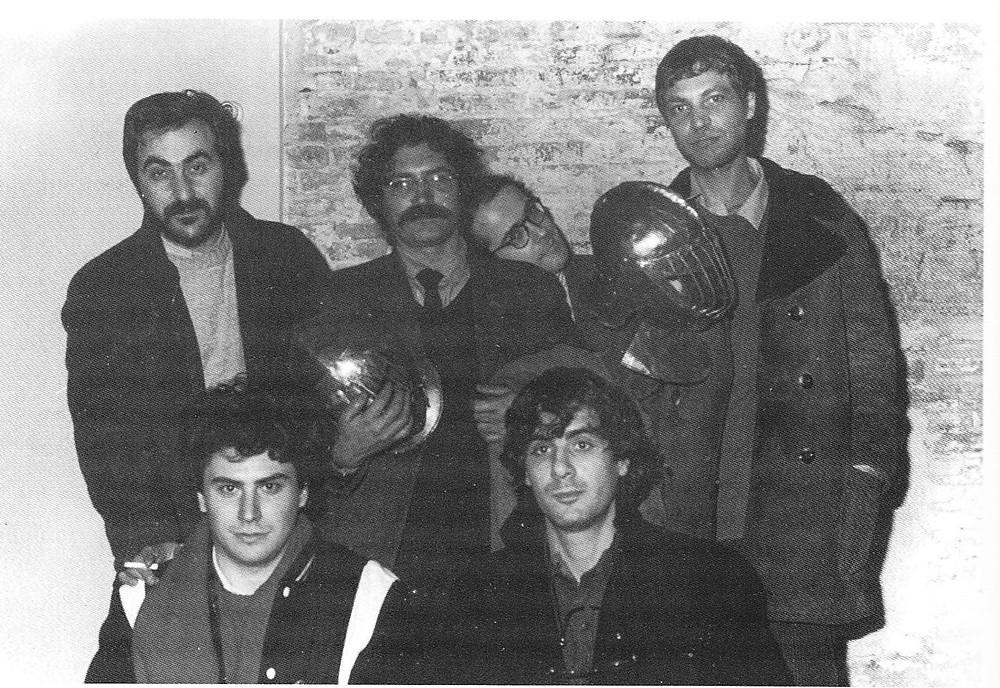 I fondatori di Frigidaire a Pisa nel 1982. Liberatore, Sparagna, Scozzari, Mattioli, Tamburini e Pazienza.