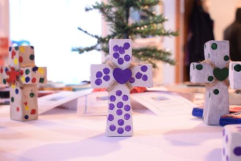 Small Polka Dot Cross - Purple