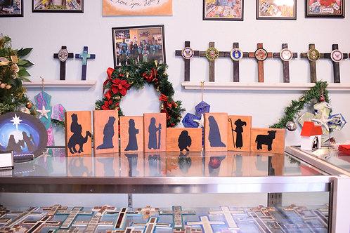 Wood Block Nativity Set - Clear