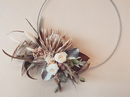 Floral Hoop, Protea and roses.