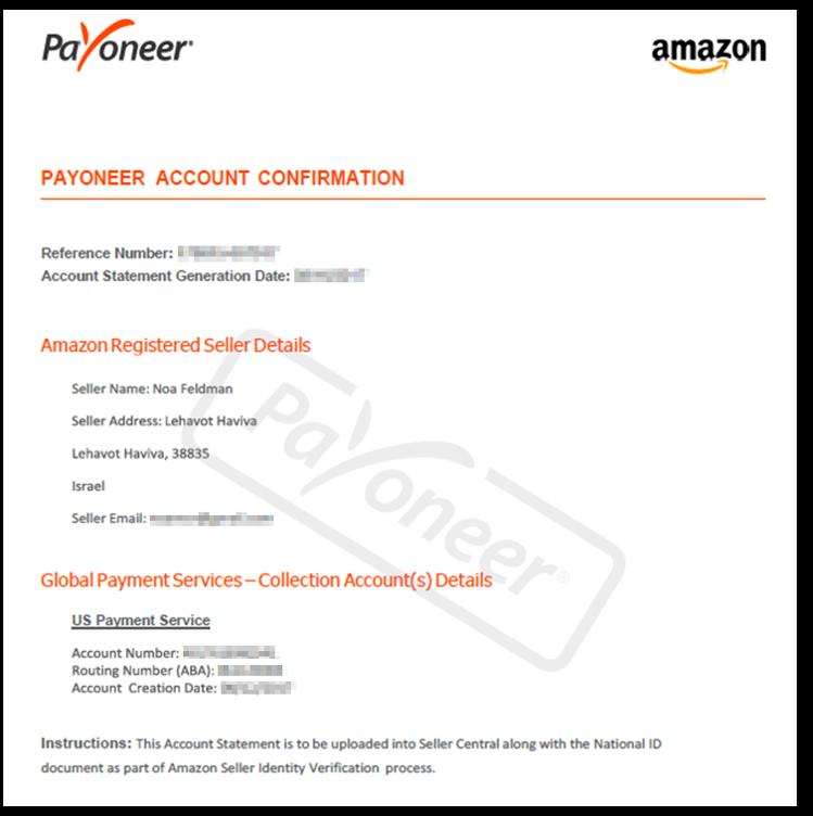 Bank Account Statement - להשגה ממוקד התמיכה של Payoneer
