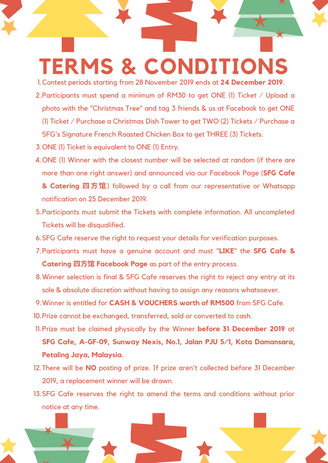 Count The Christmas Tree Contest T&C.