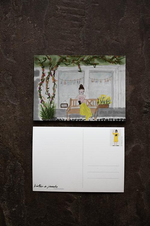 """Postkarte """"Vor dem Lädchen"""""""