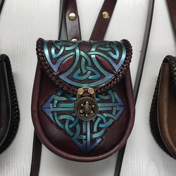 pouch carved strap celtic cross square blue green purple