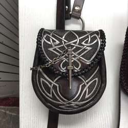 pouch carved strap pippa knotwork silver