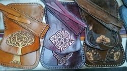 Tan, Mahogany and Dark Brown Handbag