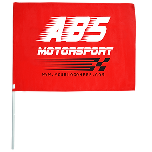 Branded promotional sporting hand-held flags on pole giveaways ideas screen printed with motorsport logo.