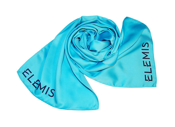 Custom-made promotional products, bespoke luxury corporate silk scarf screen printed with beauty spas company logos.