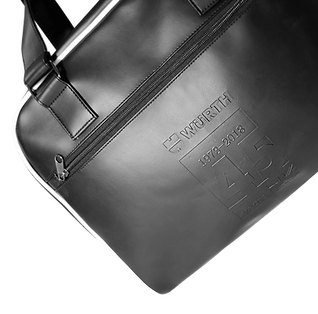 Branded promotional corporate high-end gift, holdall carry-on bags with bespoke personalised logo debossed.