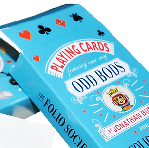 Bespoke poker sized playing cards packs with blue personalised cardboard tuck boxes printed with company logos.
