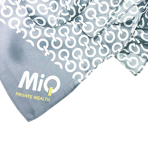 Bespoke promotional corporate uniforms scarf with shiny silver grey ground weaves and printed with company logos.