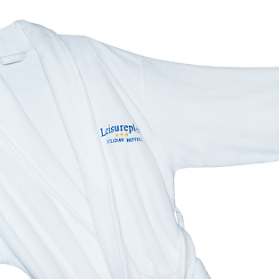Hotels spas high-end quality terry towelling bathrobes with promotional advertising embroidery logos.