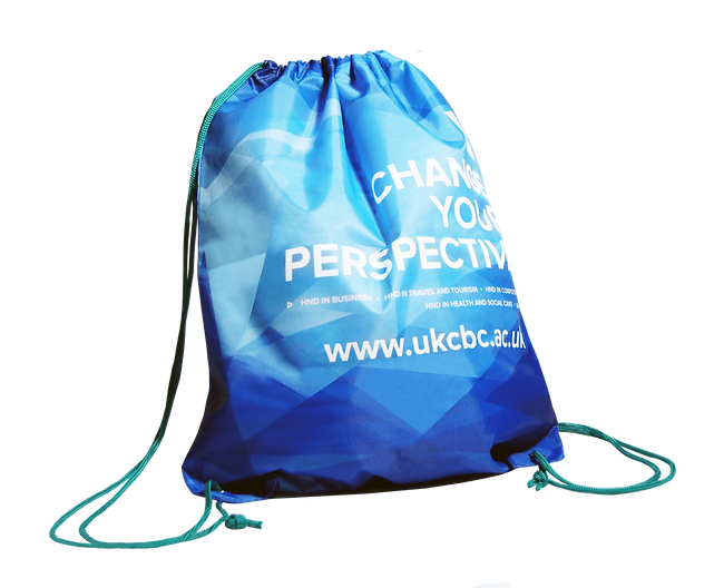 Branded promotional drawstring bags, nylon backpacks, bespoke with full colour digitally printed corporate university logo.
