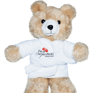 Promotional kids plush toys products presents ideas, customised teddy bears printed with Mayfair hotel logos.