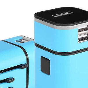Promotional corporate high-end luxury gifts, LED illuminated lit up company brand logos, universal holiday travel adaptors.